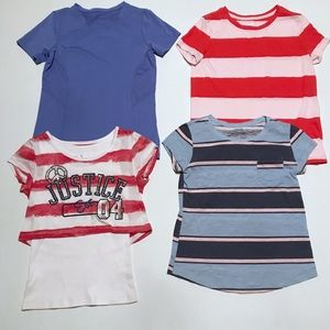 Bundle of 4 girls large shirts Justice Old Navy